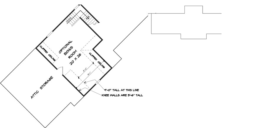 Second level floor plan with an optional bonus room and attic storage over the garage.