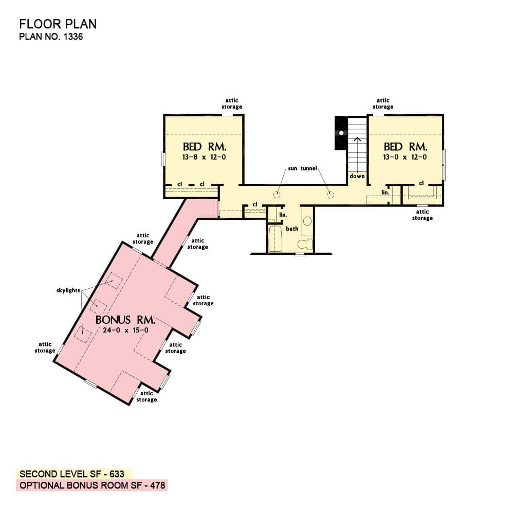 Second level floor plan with two additional bedrooms, a hall bath, and a large bonus room above the garage.
