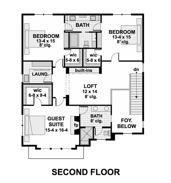 Second level floor plan with a loft, laundry room, a guest suite, and two bedrooms sharing a Jack and Jill bath.