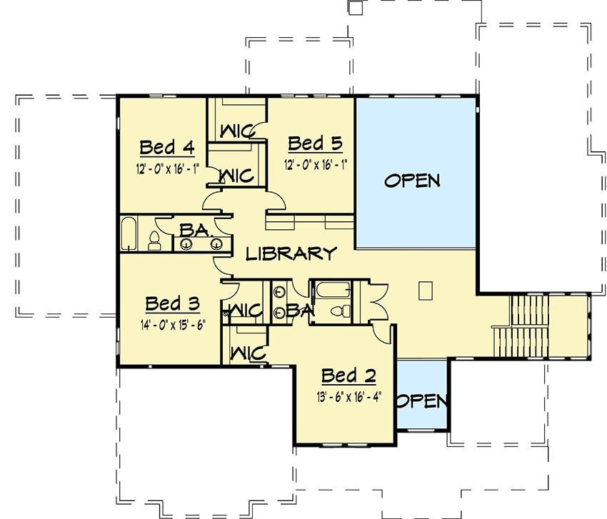 Second level floor plan with four bedrooms, two baths, and a library.