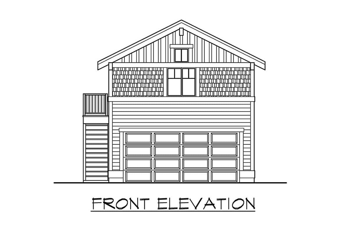 Front elevation sketch of the single-story 1-bedroom apartment.