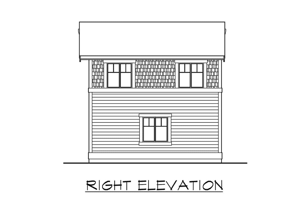 Right elevation sketch of the single-story 1-bedroom apartment.