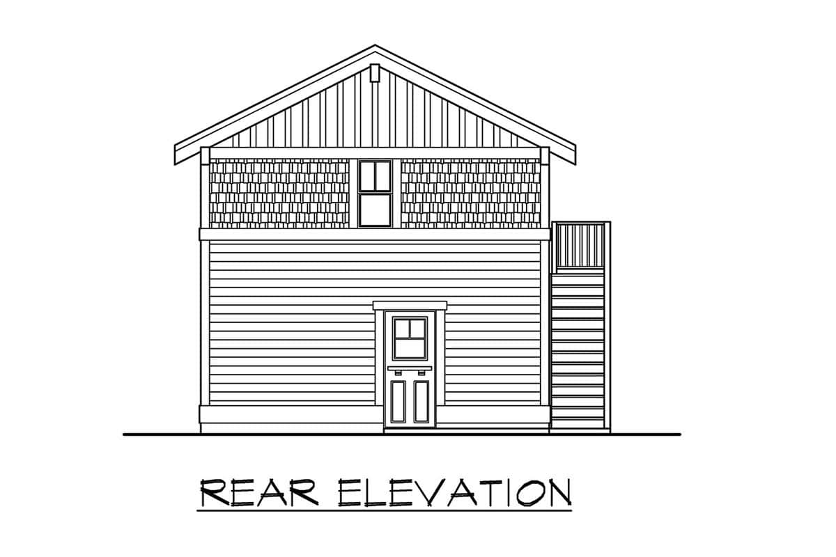 Rear elevation sketch of the single-story 1-bedroom apartment.