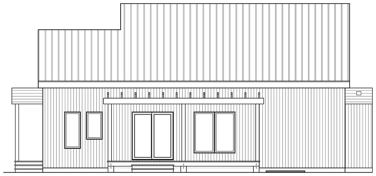 Rear elevation sketch of the single-story 2-bedroom Bergen Scandinavian home.