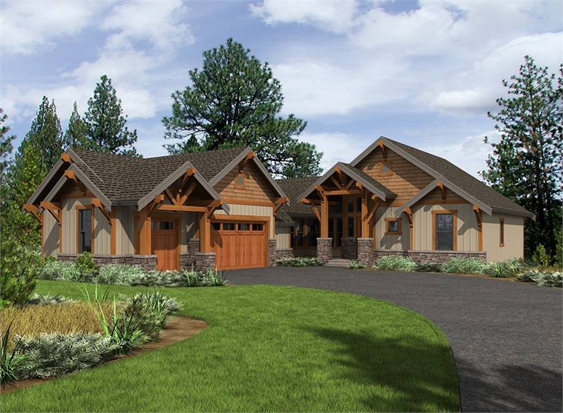 Front rendering of the single-story 3-bedroom Carbonado ranch.