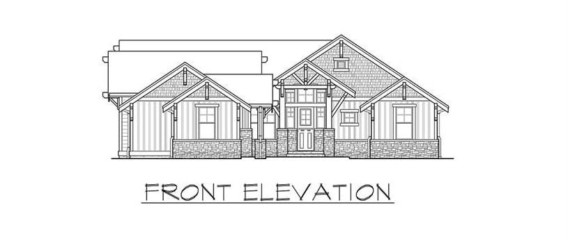 Front elevation sketch of the single-story 3-bedroom Carbonado ranch.