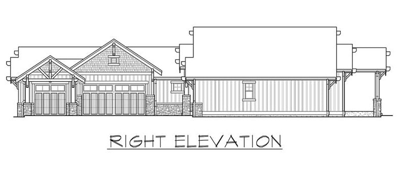 Right elevation sketch of the single-story 3-bedroom Carbonado ranch.