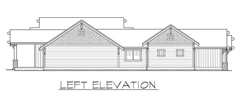 Left elevation sketch of the single-story 3-bedroom Carbonado ranch.