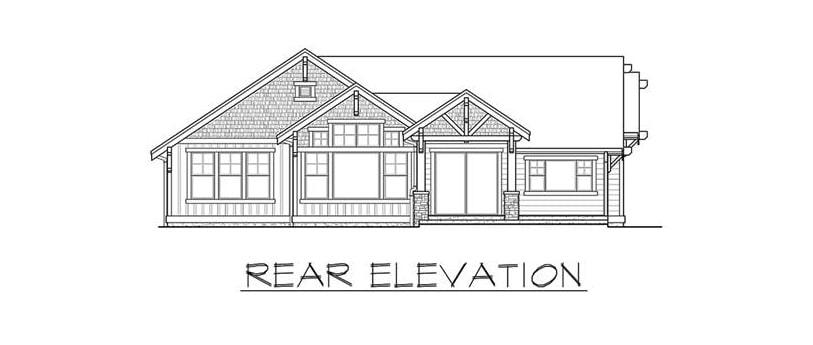 Rear elevation sketch of the single-story 3-bedroom Carbonado ranch.