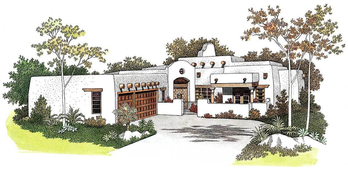 Front perspective sketch of the single-story 3-bedroom classic adobe home.