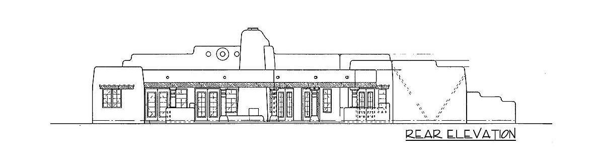 Rear elevation sketch of the single-story 3-bedroom classic adobe home.