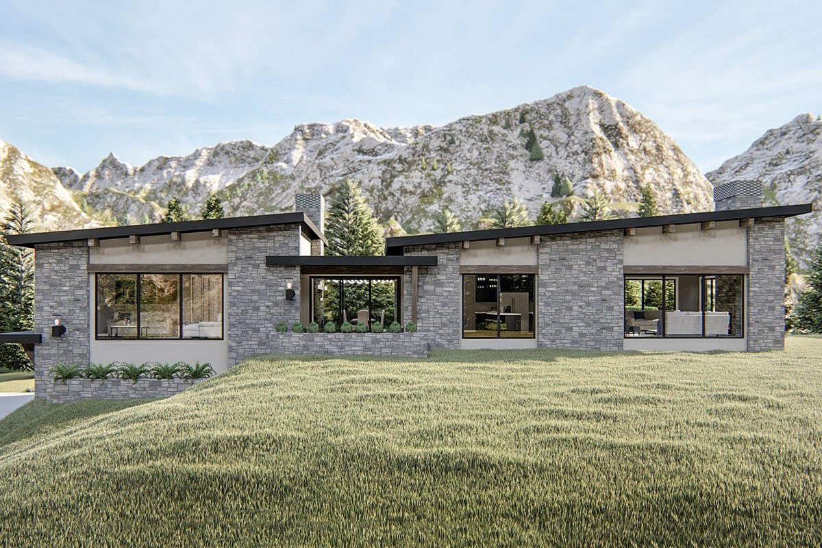 Single-Story 3-Bedroom Exclusive Modern Home with Courtyard and Drive-Under Garage