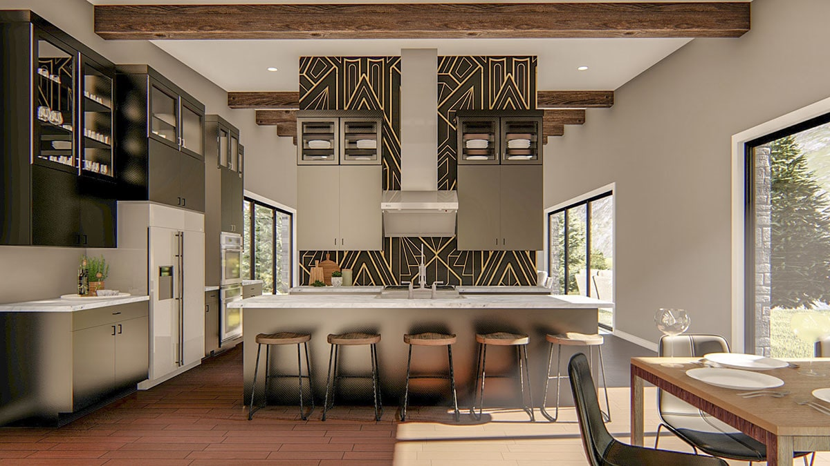 The kitchen is equipped with marble countertops, white appliances, gray cabinets, and a sleek vent hood fixed against the striking accent wall.