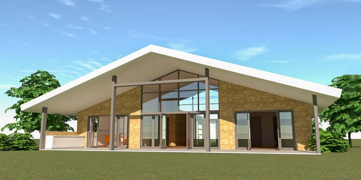 Rear rendering of the house showing the sliding glass doors and a wide covered porch that spans the width of the house.
