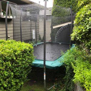 Rectangle Skywalker Trampoline in our backyard