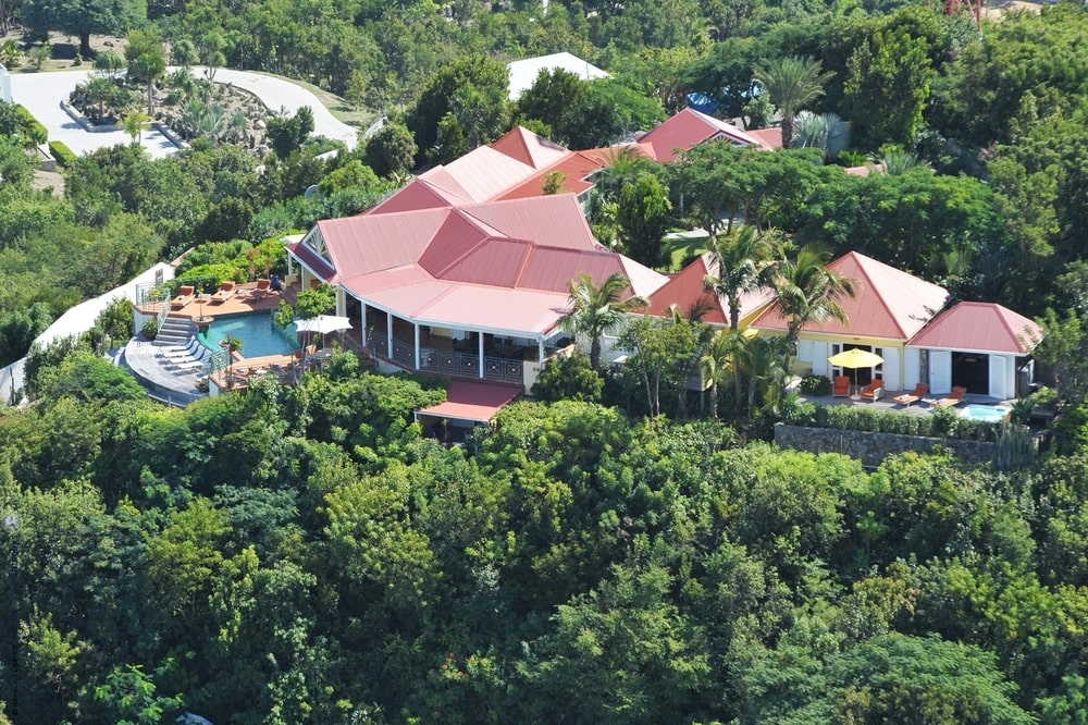 This is an aerial view of the house from the side showcasing the pool at the edge of the cliff adorned with tall trees. Image courtesy of Toptenrealestatedeals.com.