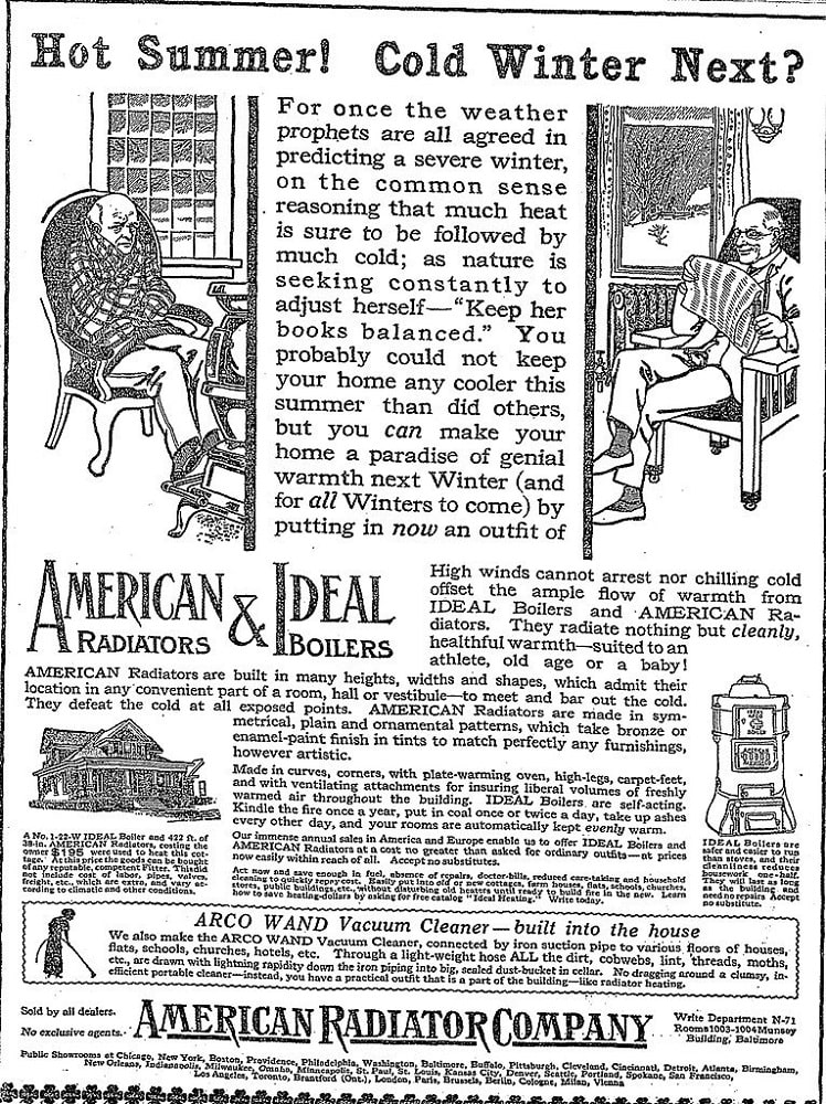 This is a page from an old newspaper depicting an advertising for radiators and vacuum cleaners in the time of the Industrial Age. Image courtesy of Toptenrealestatedeals.com.