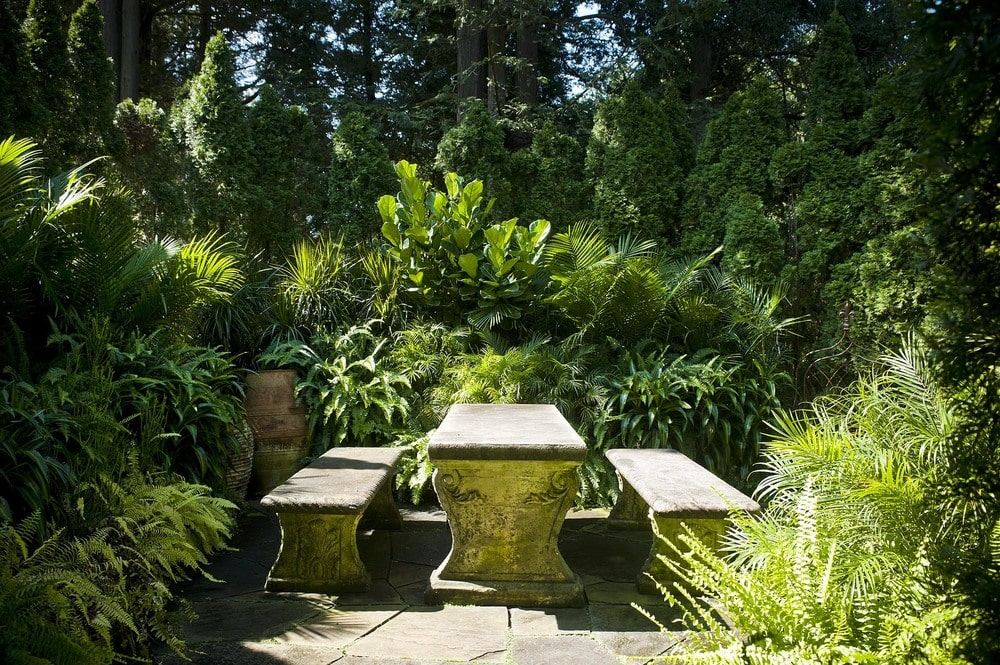 This is a close look at a corner of the landscape fitted with built-in concrete table and benches for an outdoor dining area by the thick foliage. Image courtesy of Toptenrealestatedeals.com.
