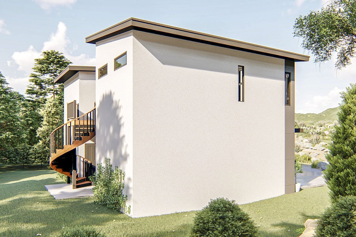 Left side view showing the flat roofs and a sleek and clean architectural exterior.