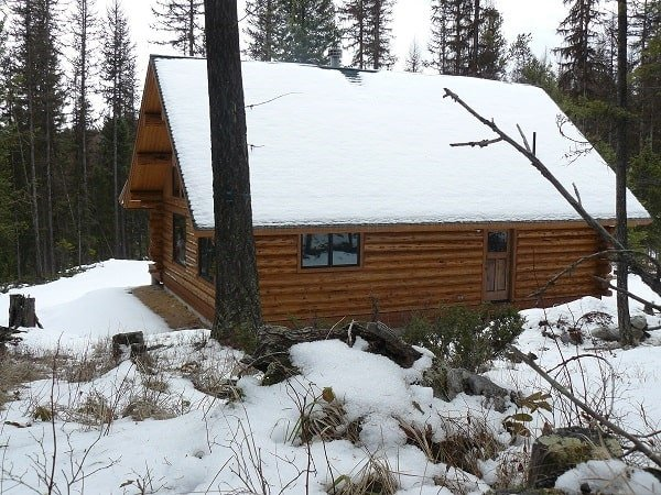 A farther view of the house shows the towering pine trees and sloping lots covered in snow.
