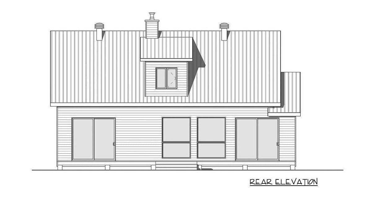 Rear elevation sketch of the two-story 1-bedroom versatile cottage.