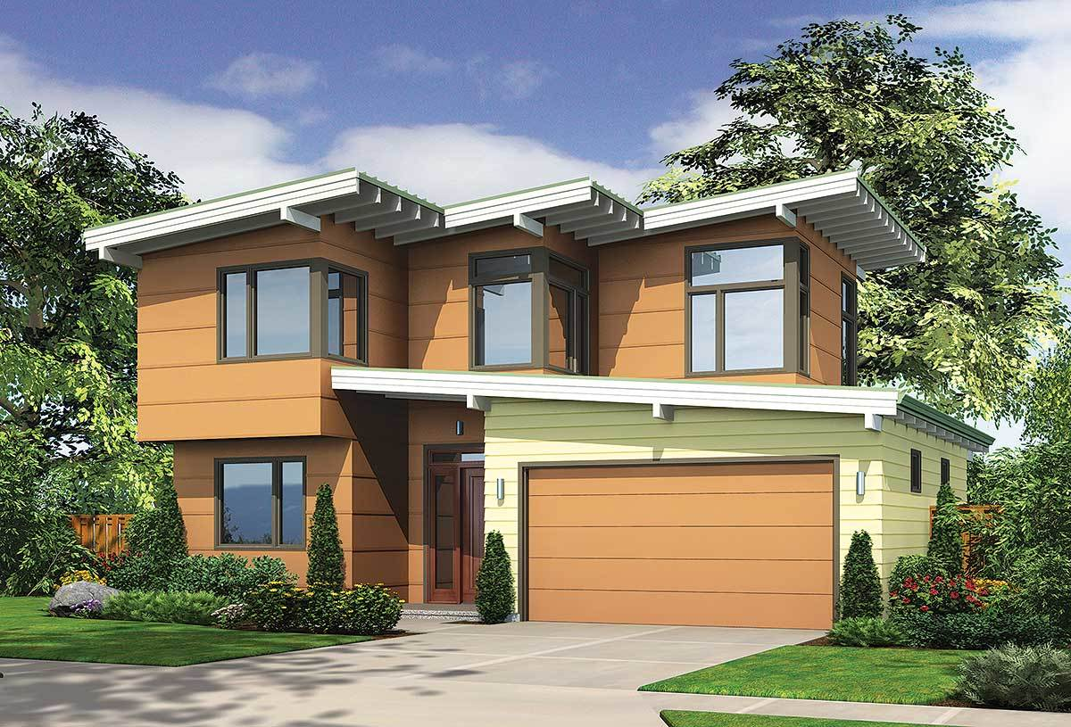 Front rendering of the two-story 2-bedroom mid-century modern home.
