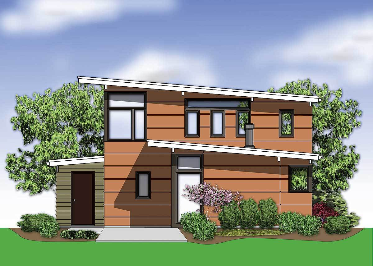 Rear rendering of the two-story 2-bedroom mid-century modern home.