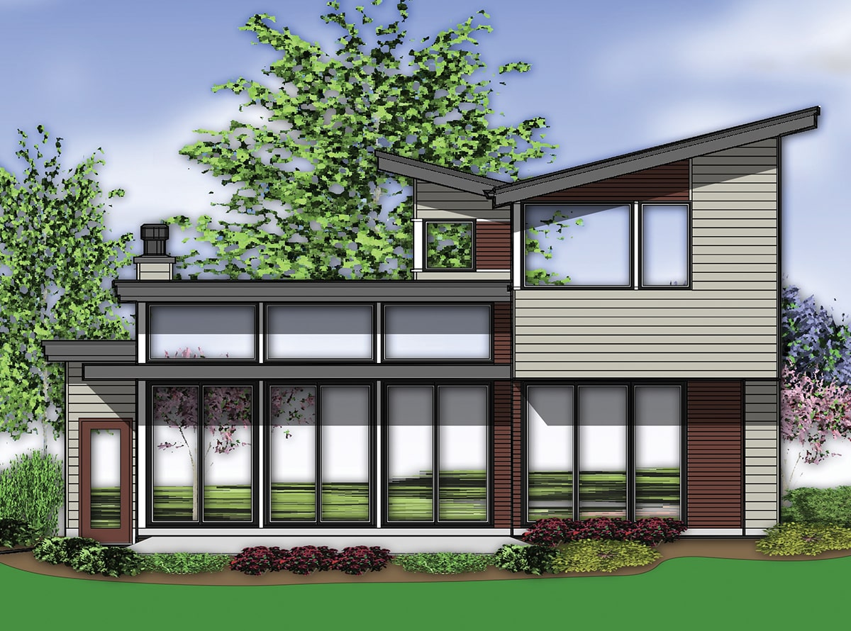 Rear elevation sketch showing the taupe horizontal siding, massive glass windows, and flat rooflines.