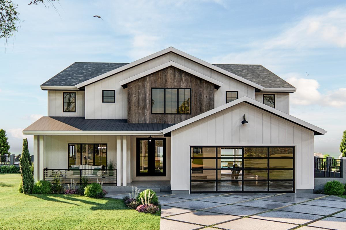 Two-Story 3-Bedroom Modern Home with Exposed Beam Entryway