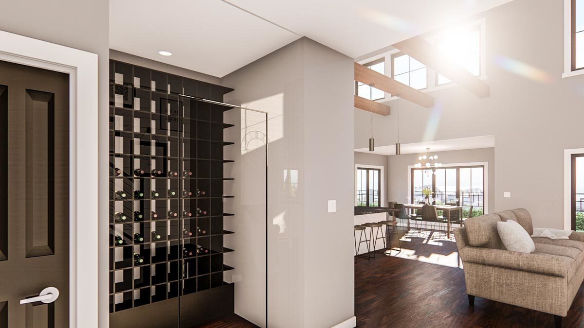 A wine cellar with wood cubby rack enclosed in a frameless glass panel.