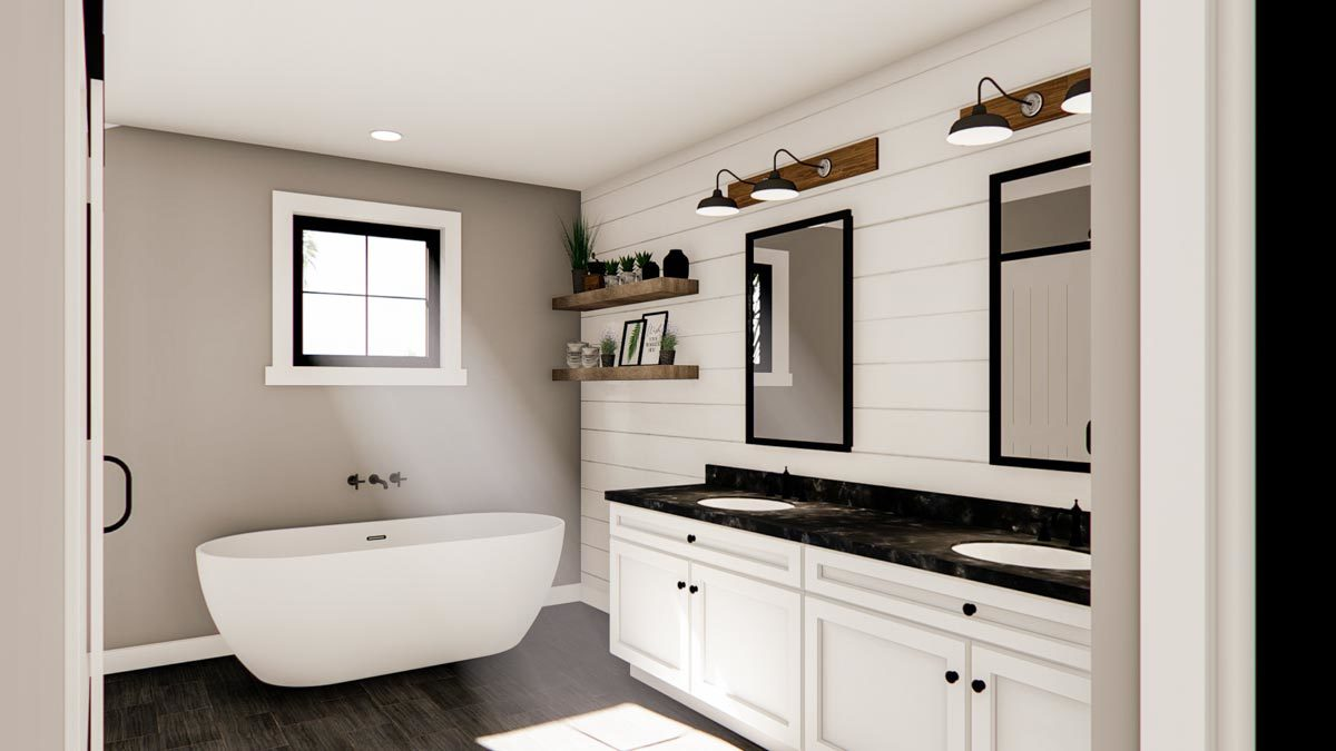 Primary bathroom with a freestanding tub, dual sink vanity, and floating shelves mounted on the white shiplap wall.