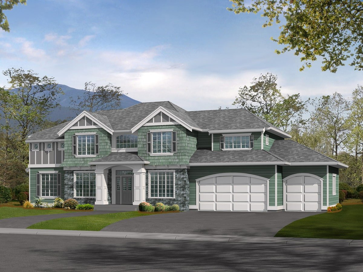 Computer rendering of the two-story 3-bedroom northwest craftsman home.