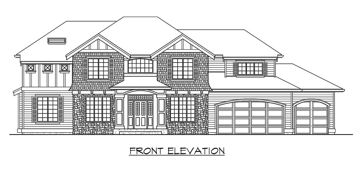 Front elevation sketch of the two-story 3-bedroom northwest craftsman home.