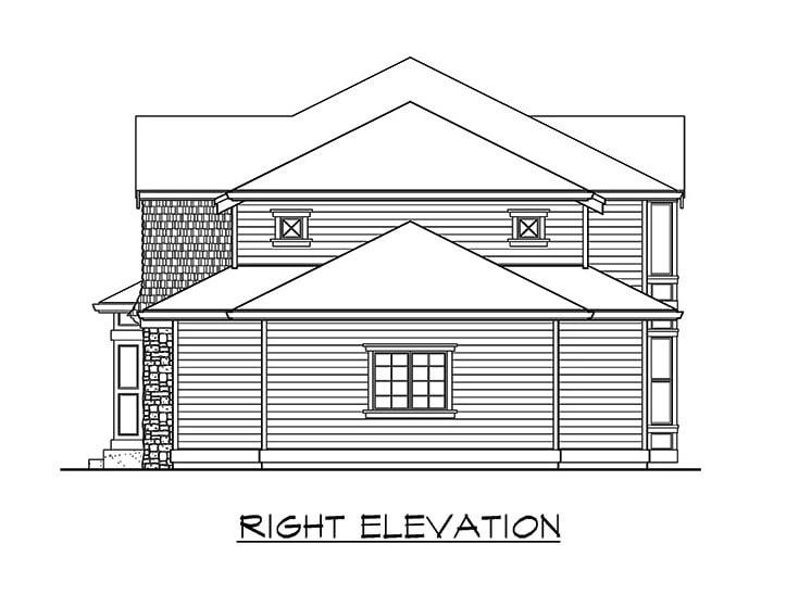 Right elevation sketch of the two-story 3-bedroom northwest craftsman home.