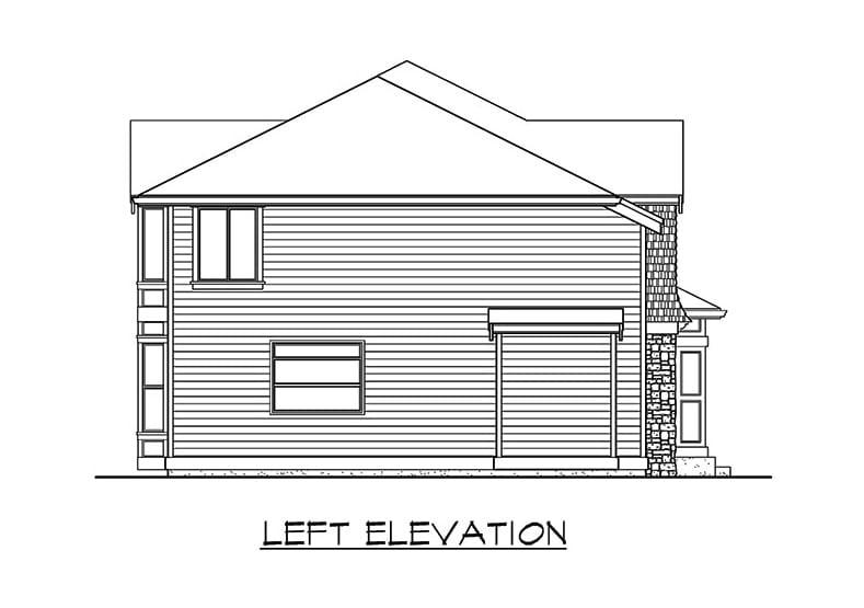 Left elevation sketch of the two-story 3-bedroom northwest craftsman home.