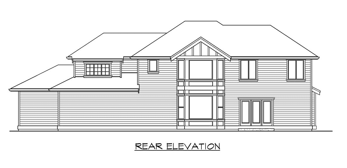 Rear elevation sketch of the two-story 3-bedroom northwest craftsman home.