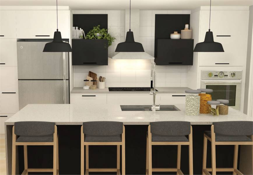 The kitchen has slate appliances, white cabinets, black dome pendants, and a marble top island fitted with an undermount sink.