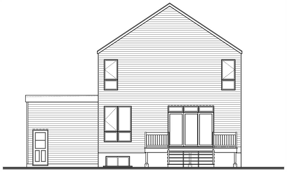 Rear elevation sketch of the single-story 3-bedroom Sequoia Scandinavian home.