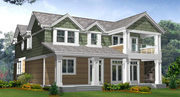 Rear rendering of the two-story 3-bedroom Woodland traditional home.