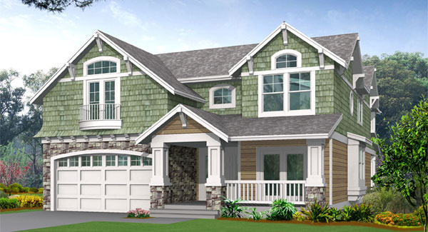 Front rendering of the two-story 3-bedroom Woodland traditional home.