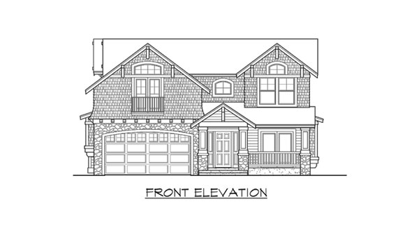 Front elevation sketch of the two-story 3-bedroom Woodland traditional home.