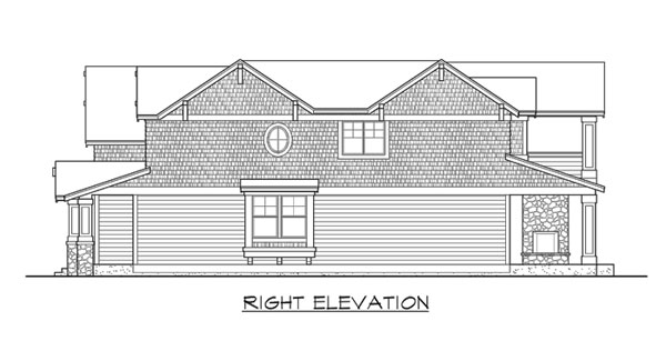 Right elevation sketch of the two-story 3-bedroom Woodland traditional home.