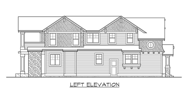 Left elevation sketch of the two-story 3-bedroom Woodland traditional home.