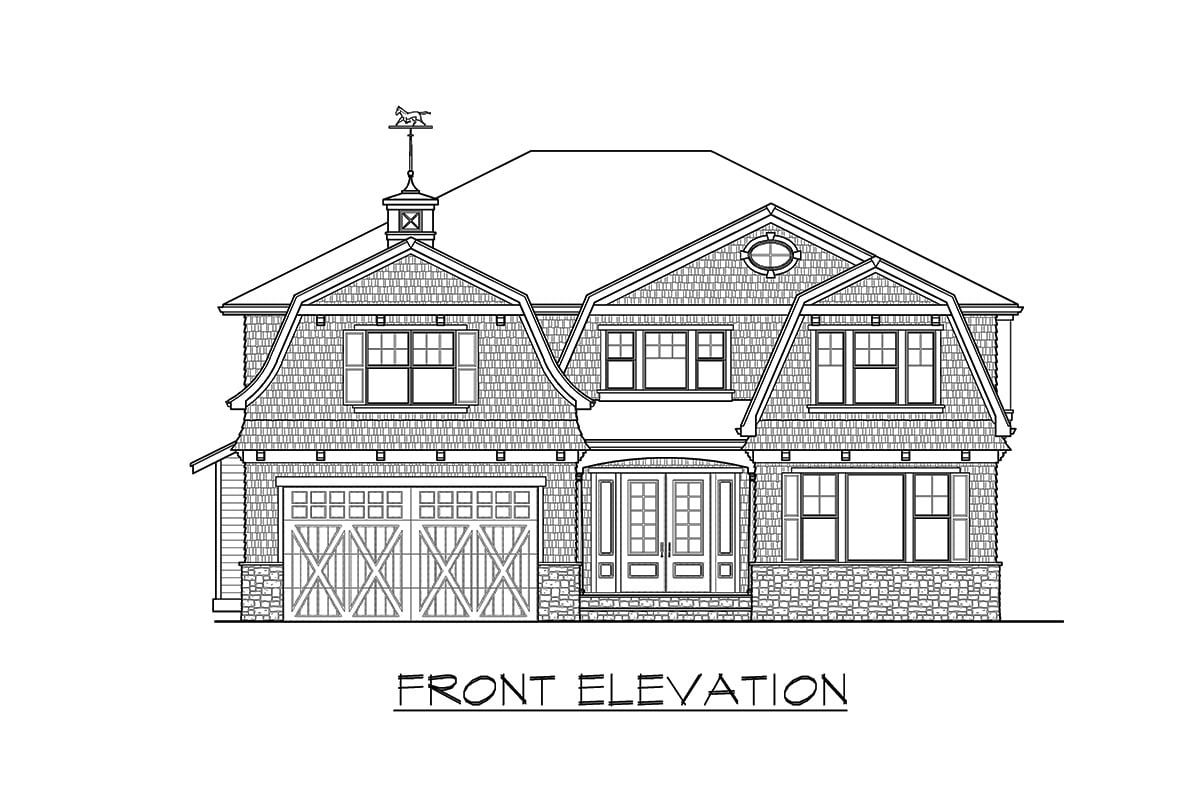 Front elevation sketch of the two-story 4-bedroom gambrel home.