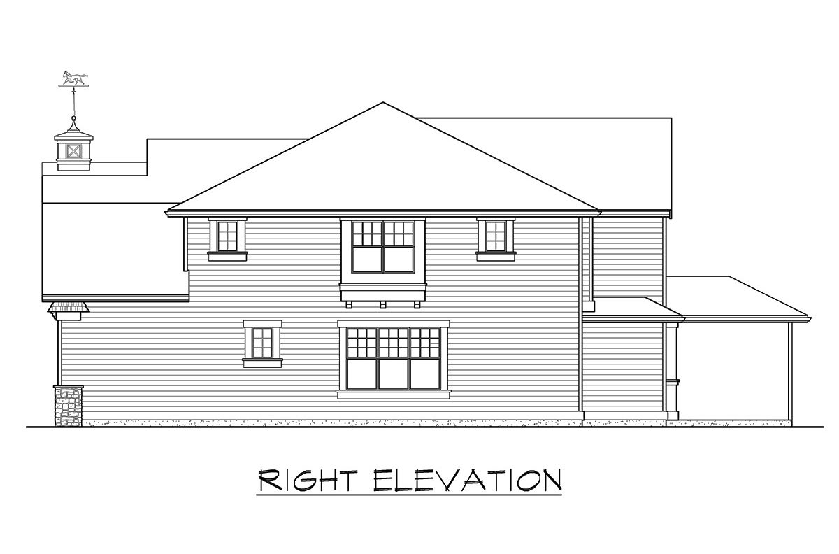 Right elevation sketch of the two-story 4-bedroom gambrel home.