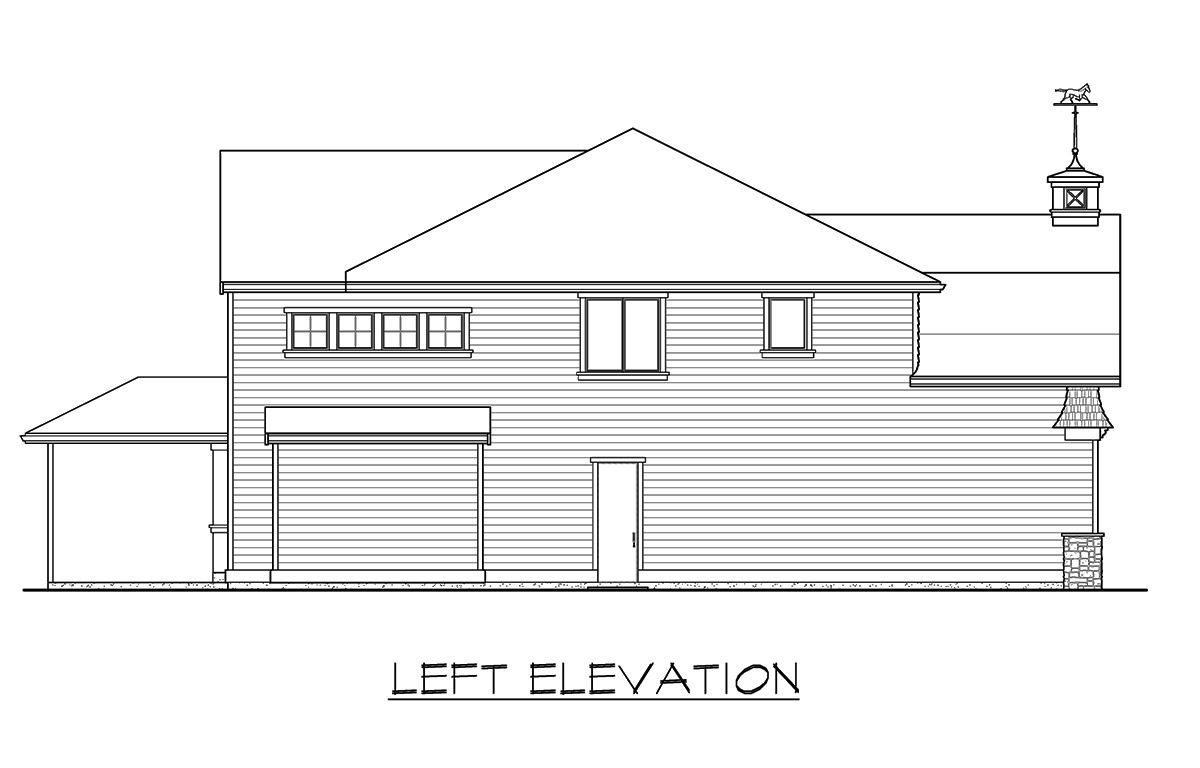 Left elevation sketch of the two-story 4-bedroom gambrel home.
