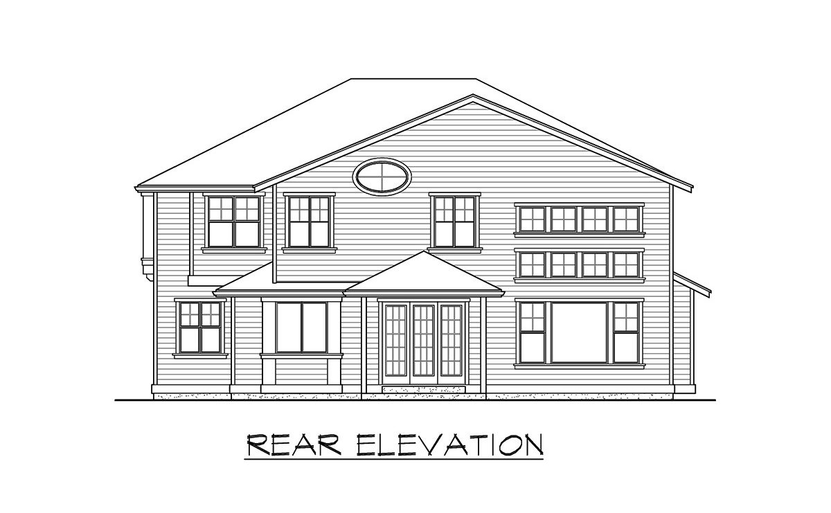 Rear elevation sketch of the two-story 4-bedroom gambrel home.
