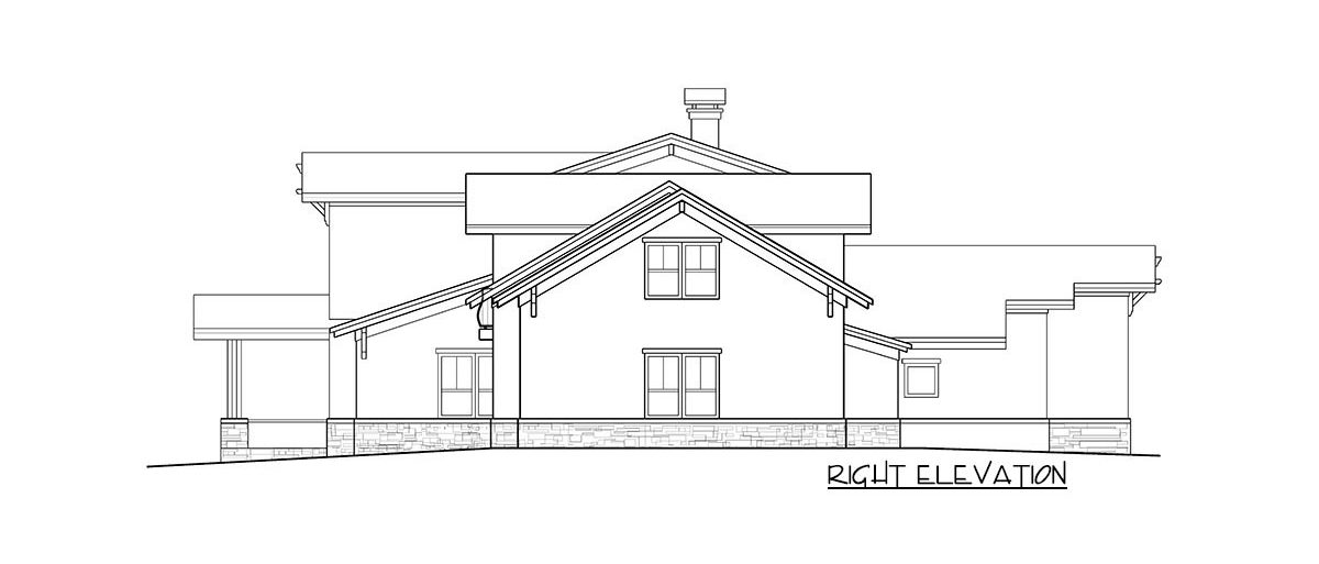 Right elevation sketch of the two-story 4-bedroom prairie craftsman home.
