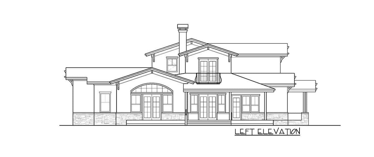 Left elevation sketch of the two-story 4-bedroom prairie craftsman home.