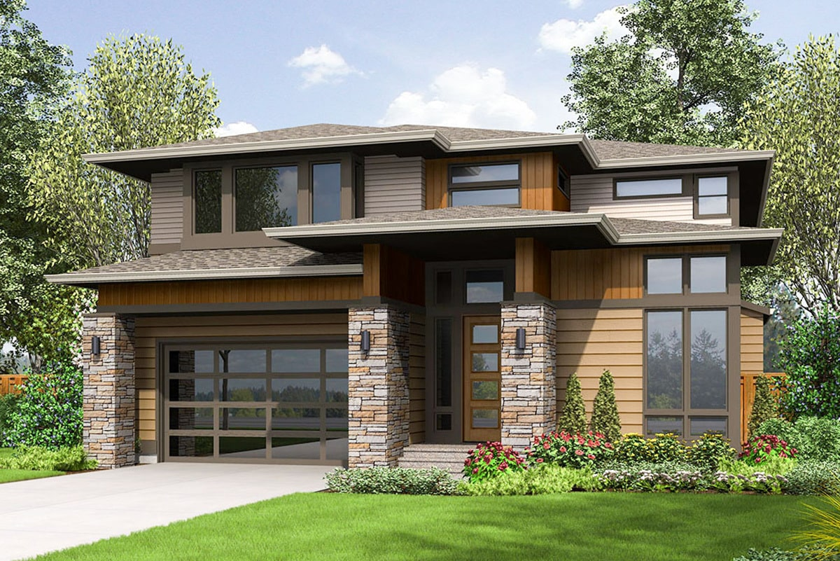 Front rendering of the two-story 4-bedroom prairie style home.